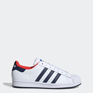 SUPERSTAR SHOES - FTWWHT/CONAVY/RED